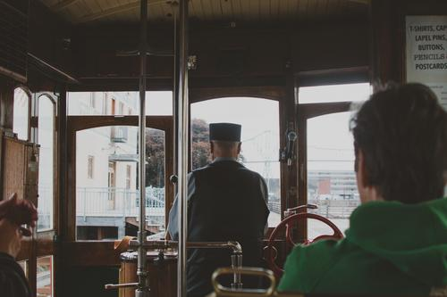 Interior of Trolley in Astoria, Oregon United States trolley streetcar Ride Conductor Driver Vintage Old Antique Wood Metal Retro Transport Vacation & Travel