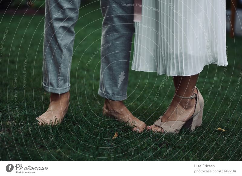 wedding - feet - barefoot - high heels Wedding Wedding couple Barefoot celebration Grass Summer Feasts & Celebrations Free natural natural beauty