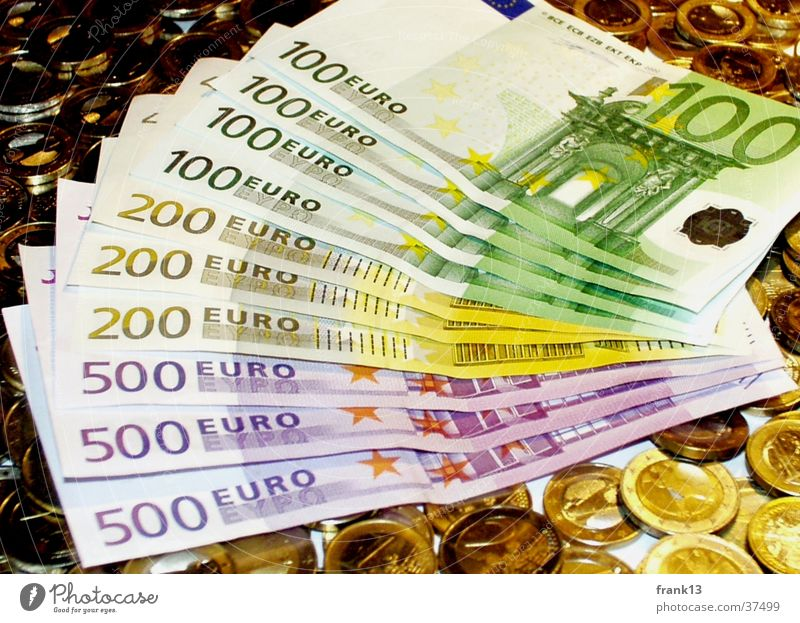 Money Euro Bank note Coin Possessions