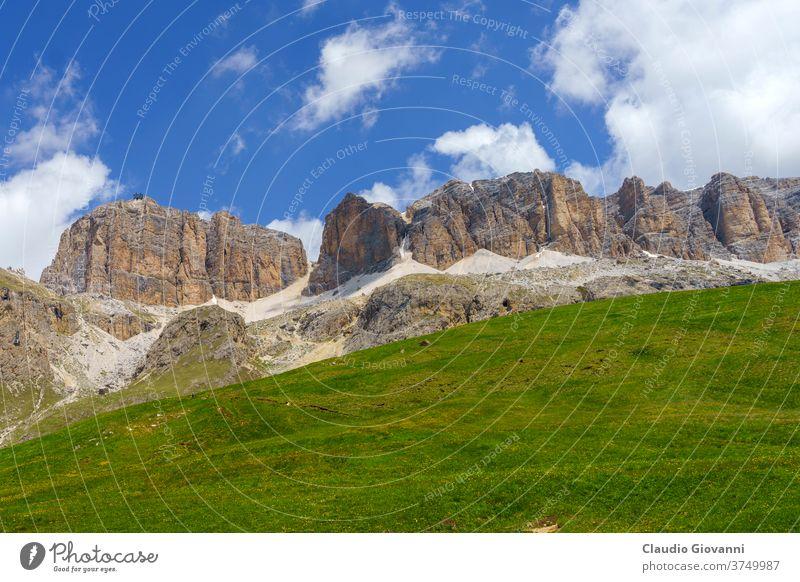 Mountain landscape along the road to Pordoi pass, Dolomites Canazei Europe Fassa Italy June Trentino Alto Adige Trento Unesco color day green mountain nature