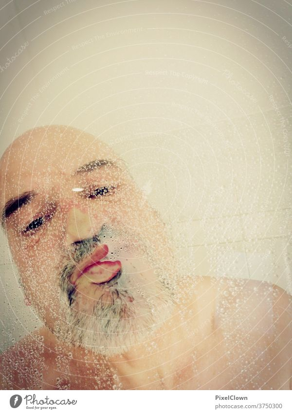 Old man taking a shower Shower (Installation) Take a shower Bathroom Personal hygiene Tile Skin Naked Water Drop Man Facial hair Bald or shaved head