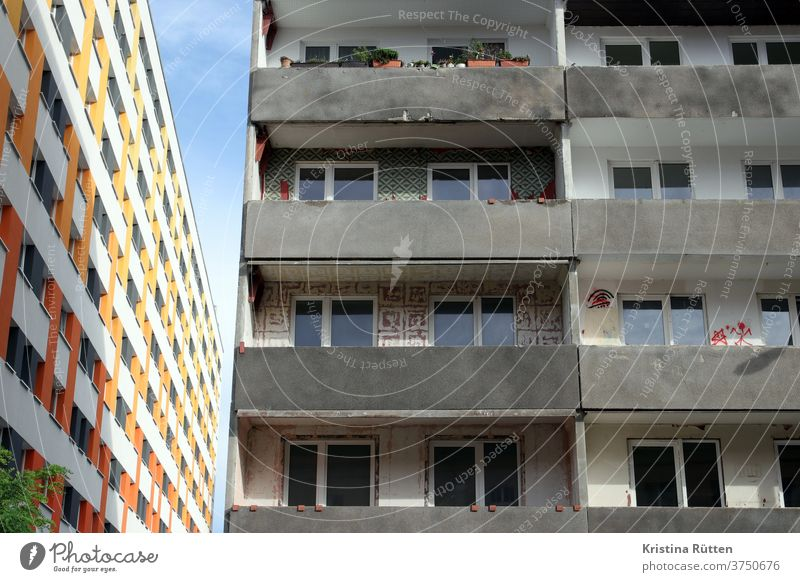 old building and new building House (Residential Structure) houses High-rise Facade New building Old building continuance living space Balconies Apartments