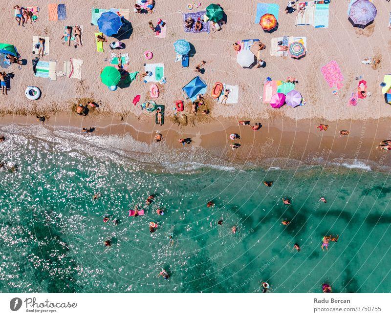 Aerial Ocean Beach Photography, People And Umbrellas On Seaside Beach beach aerial view sand background water sea vacation blue travel people mediterranean