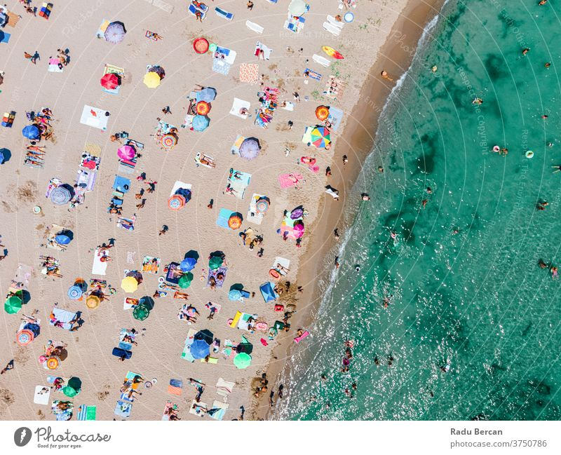 Aerial Beach Photography, People And Colorful Umbrellas On Seaside Beach beach aerial view sand background water sea vacation blue travel people mediterranean