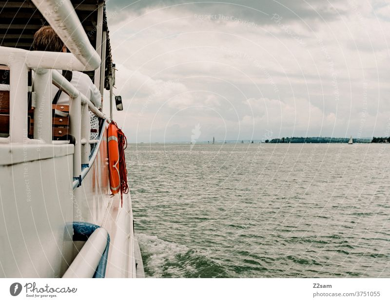 Shipping on Lake Constance shipping voyage Water Body of water Life belt Summer cloudy Weather Clouds Baden-Wuerttemberg Exterior shot Colour photo Nature