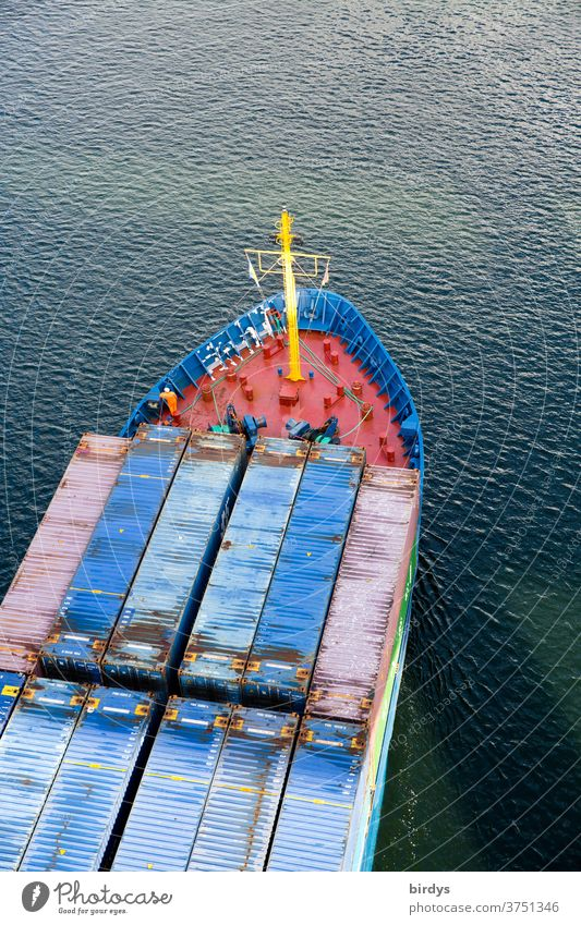 Container ship in the Kiel Canal Logistics Navigation deal Economy North-East Sea Canal Bird's-eye view Bow Water Movement of goods Transport Waterways