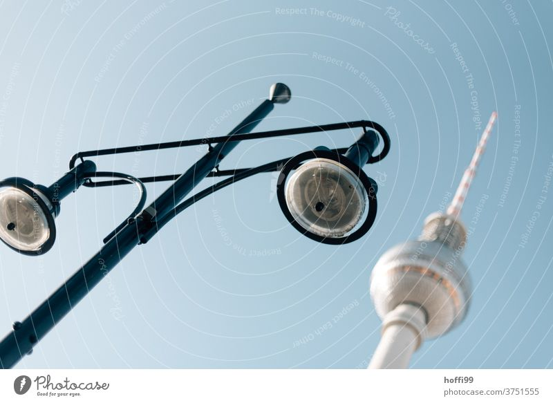 TV tower and lamp Berlin TV Tower Alexanderplatz Berlin Centre Architecture Lantern streetlamp Landmark Capital city Downtown Downtown Berlin Television tower
