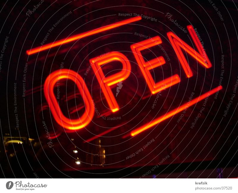 open in red Bar Light Lamp Neon sign Leisure and hobbies Signs and labeling
