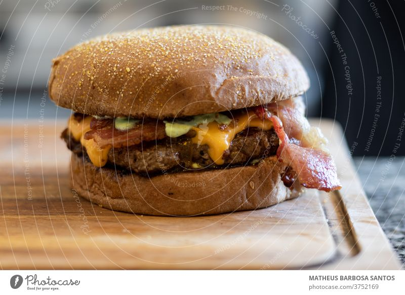 Burger with bacon burger cheese food lunch Meat meal delicious hamburguer handmade gourmet bread Snack