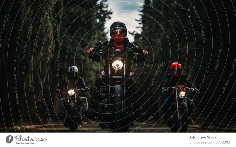 Bikers on motorcycles driving on country road biker motorbike ride drive group speed power fast travel freedom route transport adventure vehicle journey motion