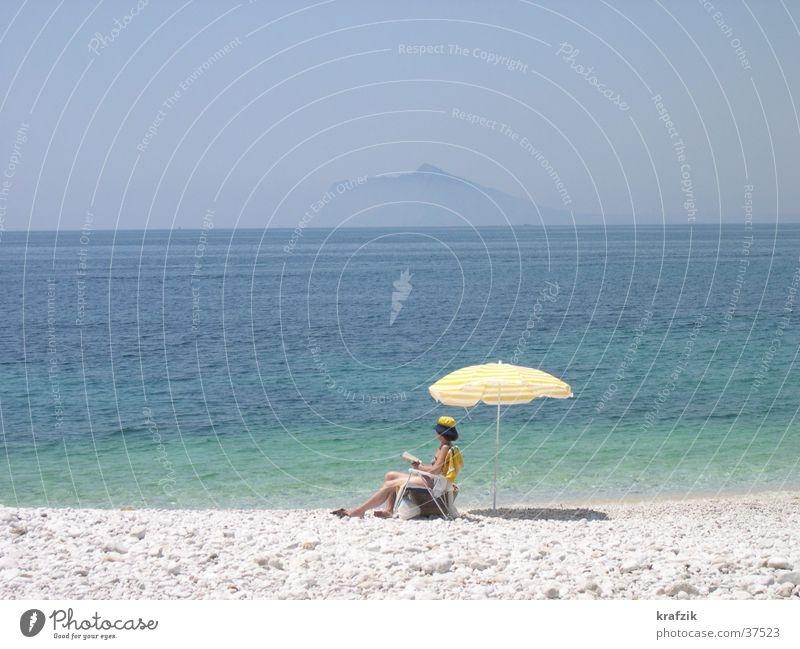 with parasol on the beach Summer Beach Ocean Europe Sun Water