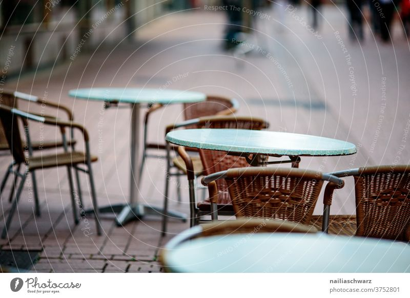 street cafe Sidewalk café Table Chair outside Gastronomy Vacation & Travel Places Lifestyle Break corona Lack of visitors Exterior shot Seating Tourism Café
