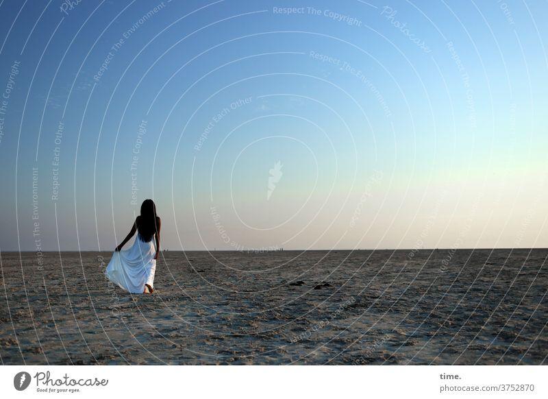 evening star Soul melancholy Wanderlust evening light Dark-haired Long-haired recover Beach Sand Horizon Room wide To enjoy Evening Sky Coast Dress Woman Going
