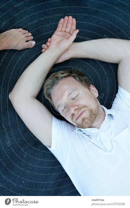 Man sleeps on top of a blanket Facial hair masculine Masculine masculinity blonde White Blue portrait youthful Mature 30 Hand Feet
