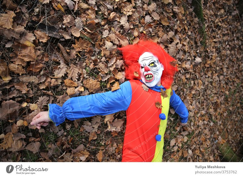 Halloween party. Creepy clown with red hair lies in autumn leaves Hallowe'en Party Clown costume clown overalls Red Autumn Forest holidays October festival