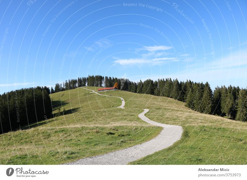 Hiking path on Blomberg Mountain, Bad Tölz, Upper Bavaria, Germany landscape road grass sky nature field meadow green rural tree summer trees forest blue