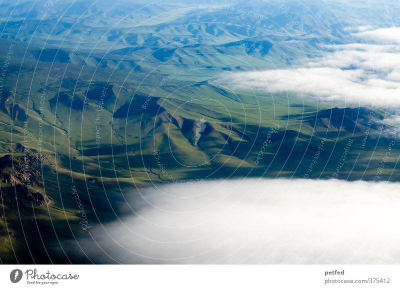 Mongolia Landscape Clouds Hill Asia Deserted Large Infinity Green Far-off places Mountain Vacation & Travel Colour photo Exterior shot Copy Space bottom Day