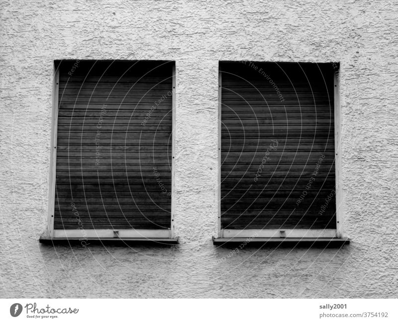 sadness... Window Venetian blinds Closed forsake sb./sth. Gloomy Roller blind Facade Wall (building) Wall (barrier) somber Gray 2 Parallel Loneliness locked