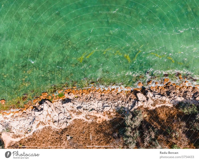 Aerial View Seascape, Ocean Waves Crashing On Rocks, Drone Photography rock background waves sea ocean aerial rock beach rocky abstract drone view water nature