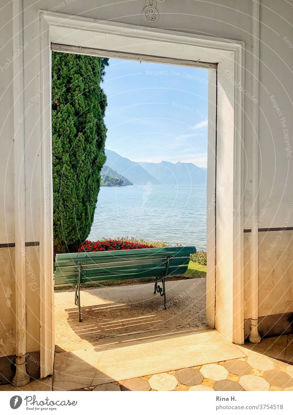 View of Lake Como outlook late summer vacation northern italy Bella Italia Way out Bellagio bench Architecture door