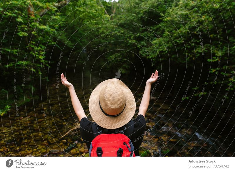 Traveling woman with backpack near pond in woods carefree traveler freedom enjoy forest lake vacation summer female tourist hat calm trip journey wanderlust