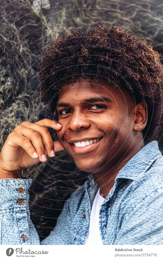 Delighted ethnic man looking at camera delight portrait smile handsome charismatic city afro hairstyle appearance male black african american street positive