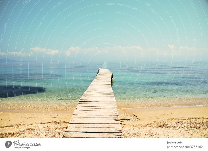 Vision with insight Harmonious Freedom Summer Sky Clouds Beautiful weather Coast Ocean Far-off places Long Warmth Moody Wisdom Horizon Wooden board