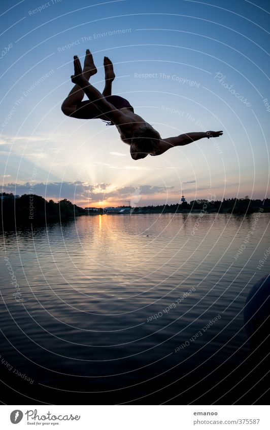 Human being Sky Man Youth (Young adults) Vacation & Travel Water Summer Sun Landscape Joy Adults Sports Freedom Swimming & Bathing Lake Style