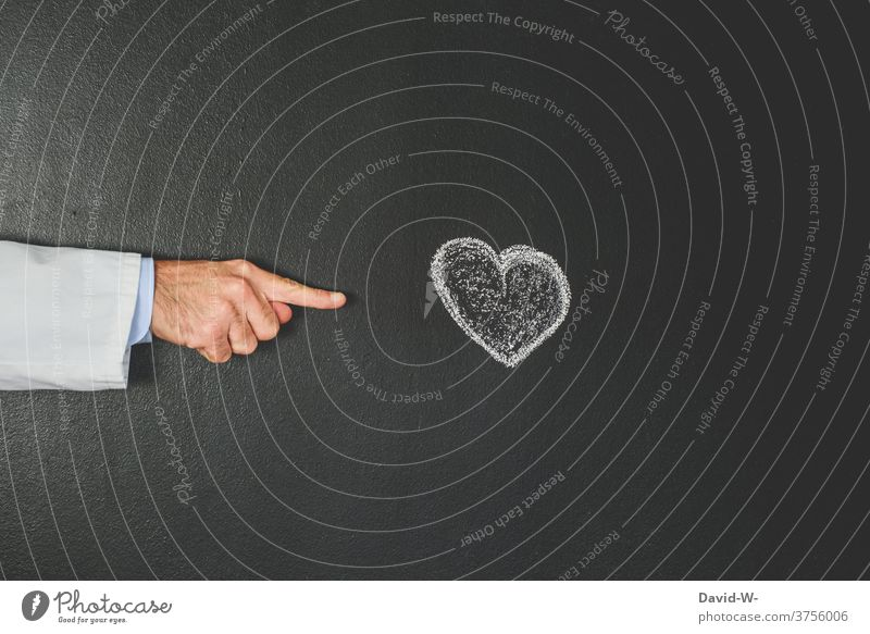 Doctor points to a heart Heart Cardiologist cardiology Indicate Interpret heart attack Healthy medicine Illness Health care