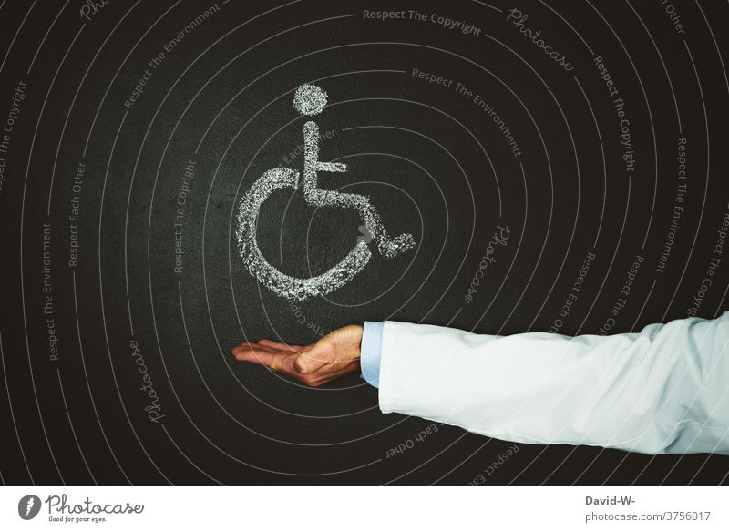 Doctor indicates physically handicapped persons - Wheelchair user signs Hand wheelchair users Disability friendly Sign physical limitation Interpret Clue