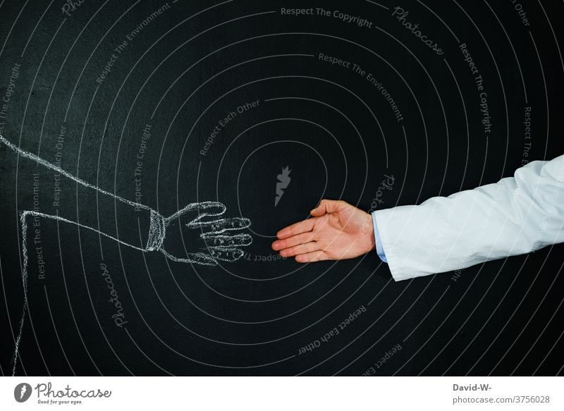 Doctor - reach hands Handshake duty of confidentiality Patient stretch deal Health care medicine people 2 persons
