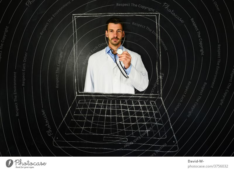 Telemedicine - doctor / doctor on laptop Internet Doctor Health care Medical treatment Healthy Future Computer Technology Online