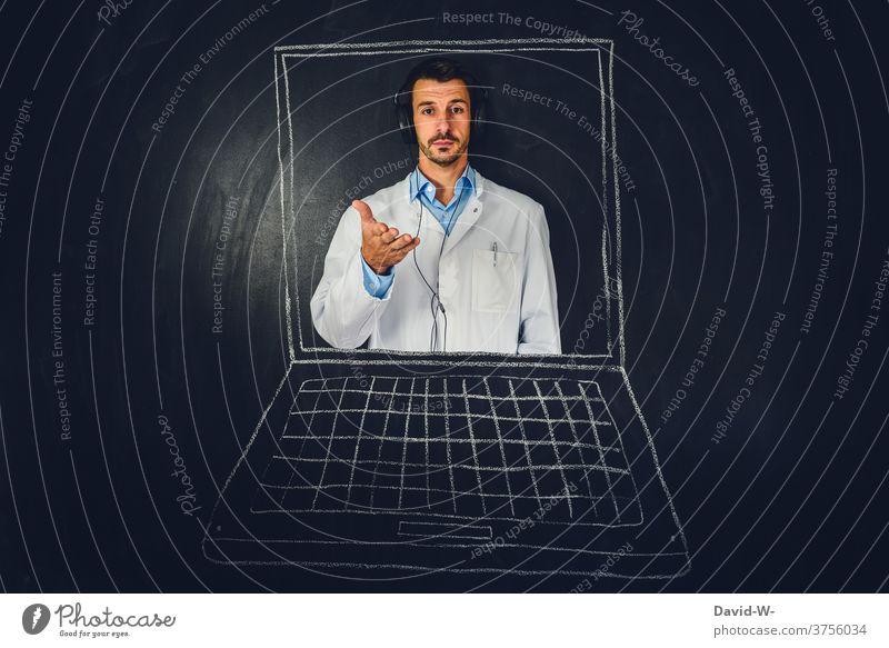 Doctor in laptop Telemedicine Health care Advice Online Medical treatment Internet Hospital transfer Blackboard Chalk