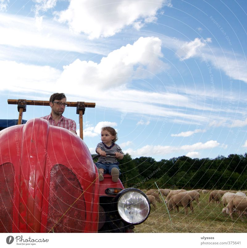 Driving the tractor Joy Happy Playing Vacation & Travel Trip Summer Human being Toddler Girl Father Adults Infancy 2 1 - 3 years 30 - 45 years Clouds