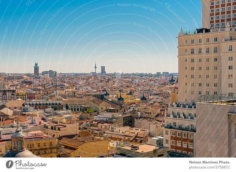 Panoramic view of buildings and European style roofs. Vista de Madrid desde arriba, se ve el centro con la Plaza España. europa travel scene landmark spanish