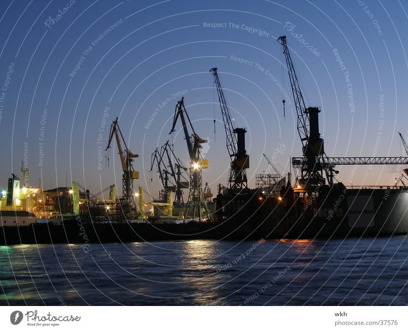 Hamburg Harbour Navigation Crane Elbe