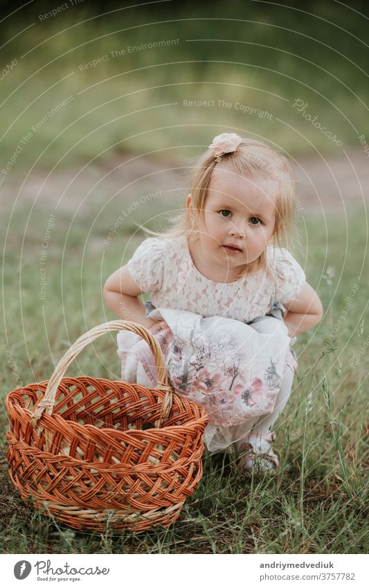 little cute girl with a basket enjoys a sunny day in the park kid happy baby portrait playing happiness beautiful candid carefree cheerful child childhood