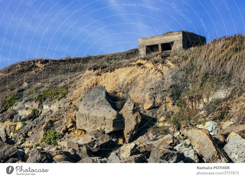 Blockhouse on the cliff on the opal coast blockaus vestige war calais nord beach sky shore outdoor sea scenic scenery tourism rocky travel water summer seascape