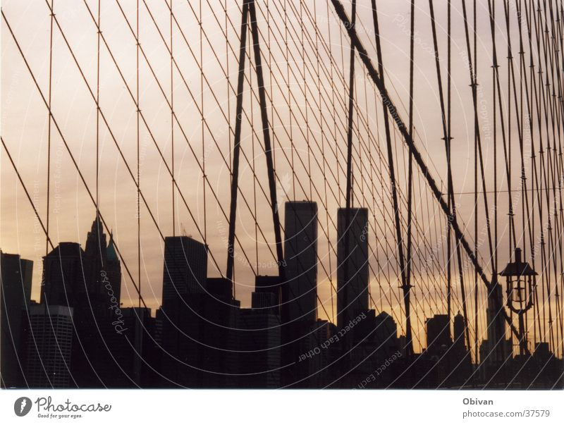 Building Bridge Net Skyline New York City North America World Trade Center