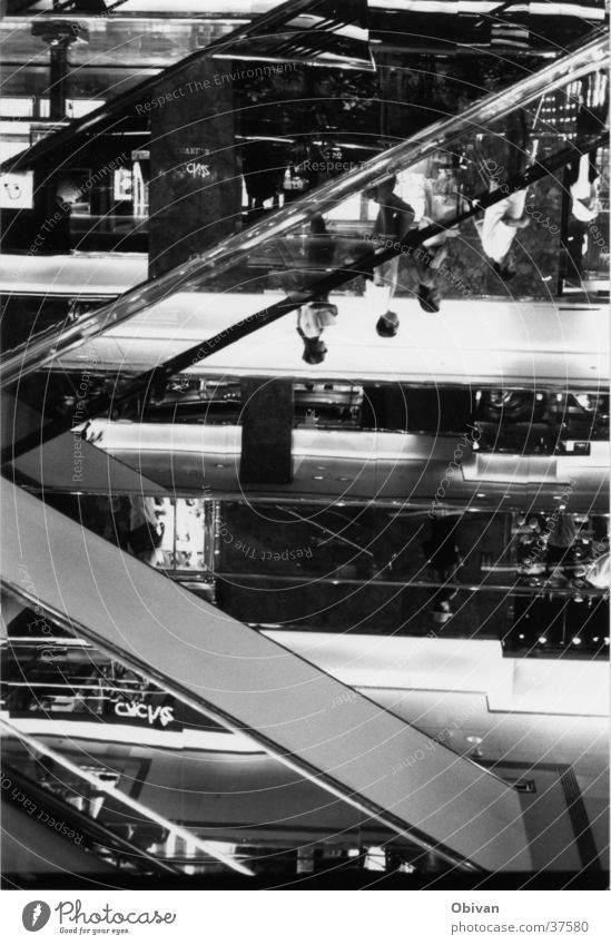 Human being Architecture Glass Mirror New York City Escalator Shopping center