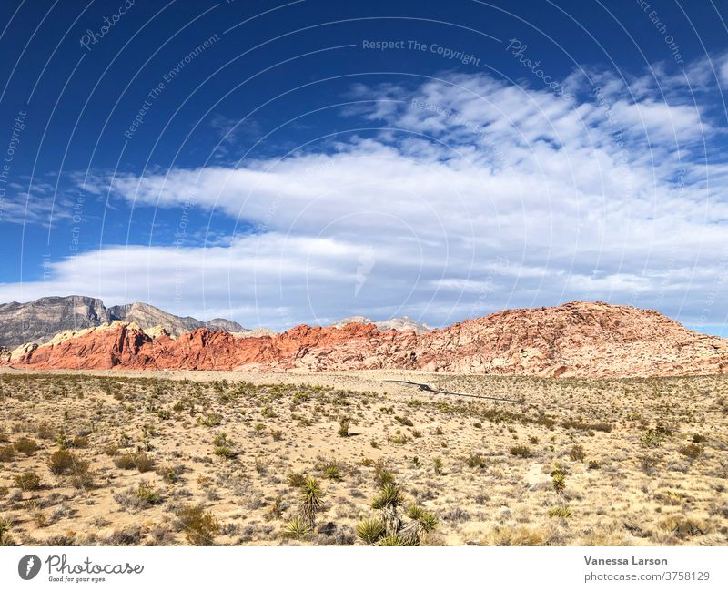 Desert Landscape with Mountains and Blue Cloudy Sky in Red Rock Canyon Red rock canyon america national park scenic usa nature sky wilderness travel red