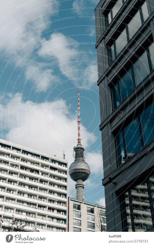 Television tower with house facades Berlin TV Tower Landmark Capital city Downtown Berlin Architecture Tourism Apartment Building Tourist Attraction
