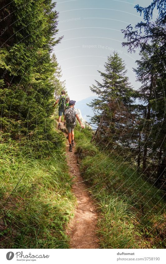 Children Hiking Path Mountaineering mountains Vacation & Travel Alps Panorama (View) hike Alpine pasture Movement Meadow Exterior shot fun Landscape Family
