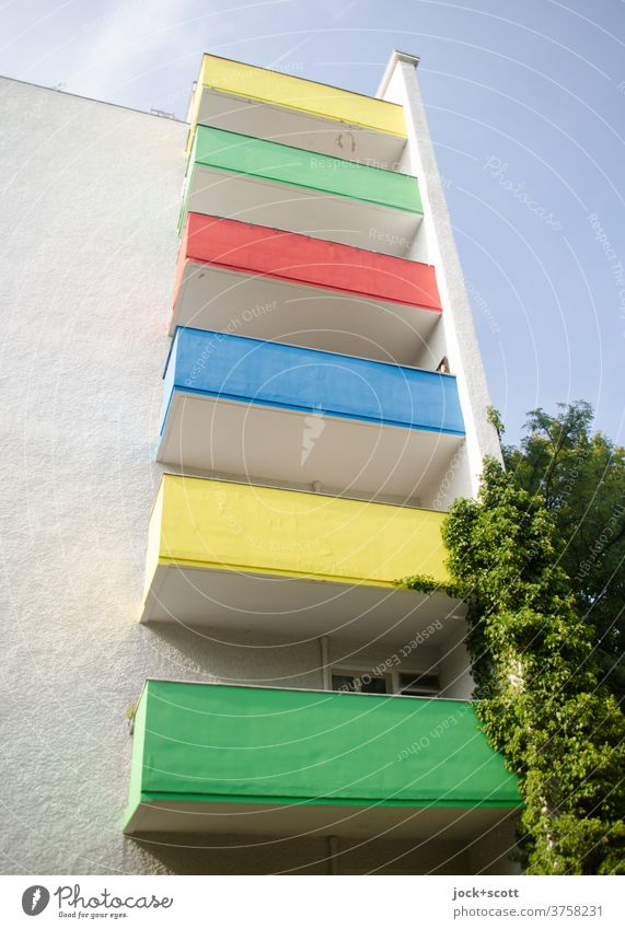 Colour green, yellow, blue, red on the balcony is beautiful in any weather Balcony Architecture Sky Facade High-rise variegated Decoration Colour scheme