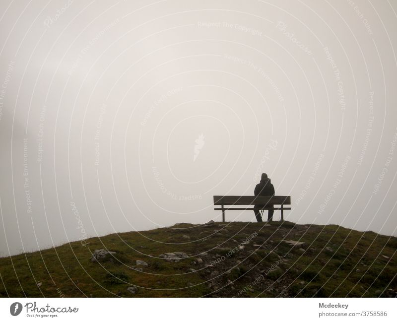 Best View II Lünersee Bench Park bench bench seats Fog Misty atmosphere Fog bank Shroud of fog Mountain mountains vantage point Vantage point Dreary Hiking