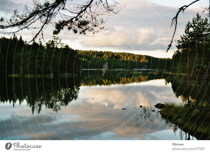 sunset Lake Clouds Reflection Calm Dusk Shadow