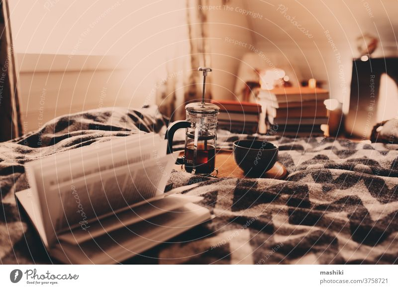 cozy winter morning with cup of hot tea. Nordic bedroom interior in country wooden house or cabin, hygge concept home warm relax comfort cold book comfortable