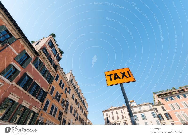 Taxi rank in Rome Signs and labeling downtown Old building Cloudless sky Services Transport Tourism