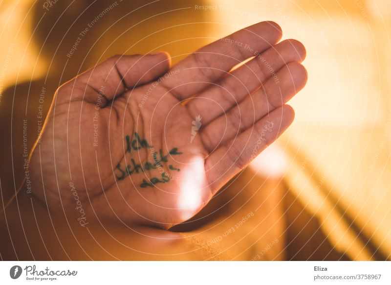 Self-motivation written on the hand Motive Self-confidence by hand Impulsion Getting something done encourage sb. Success Optimism test exam nerves Willpower