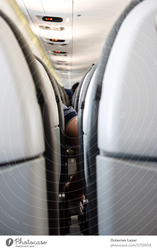 Back side of generic airplane seats next to each other shallow depth of field view forward to passengers. aisle seating inside interior transport transportation